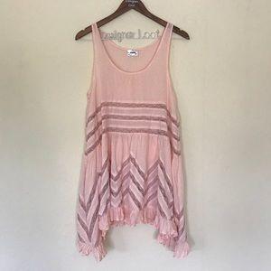 Free People Blush Pink Voile Lace Slip Dress Mini